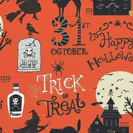 Noir fonc/é Beige et Blanc Orange Citrouille Textiles fran/çais Tissu de Halloween 100/% Coton * Largeur: 160 cm Halloween Effrayant Gris Argent et Moyen par m/ètre lin/éaire