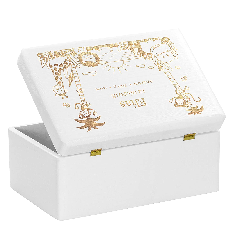 Erinnerungskiste als Geschenk zur Geburt Gr/ö/ße M LAUBLUST Holzkiste mit Gravur Personalisiert mit ❤️ GEBURTSDATEN ❤️ Wei/ß Dschungel Motiv