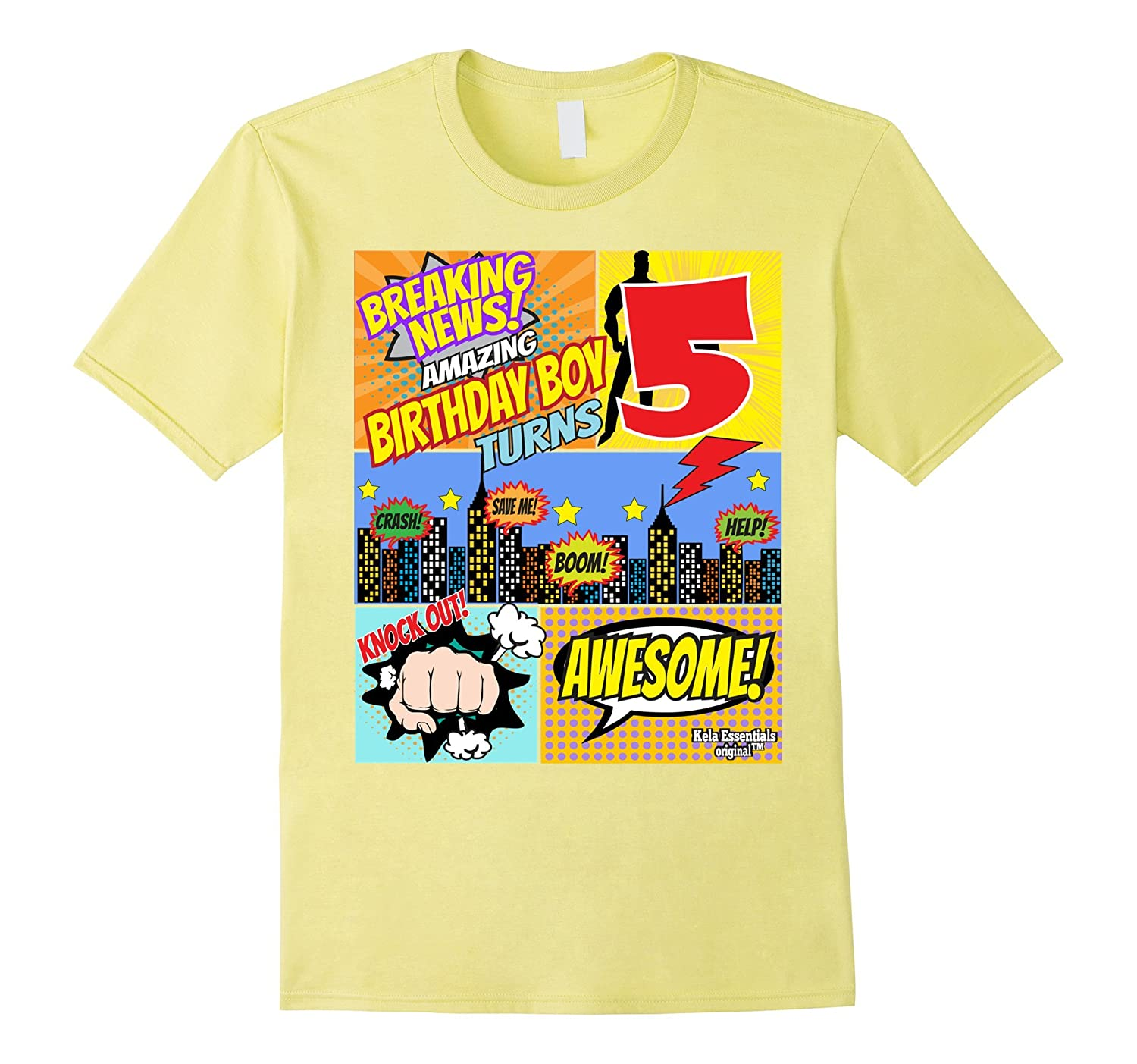 Superhero Birthday Shirt Boys 5 Amazing Awesome Super RT