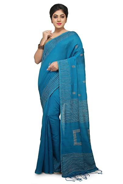 490dc65b138ad0 Image Unavailable. Image not available for. Colour  WoodenTant Women s Box Handloom  Cotton and Silk Mix Saree with ...