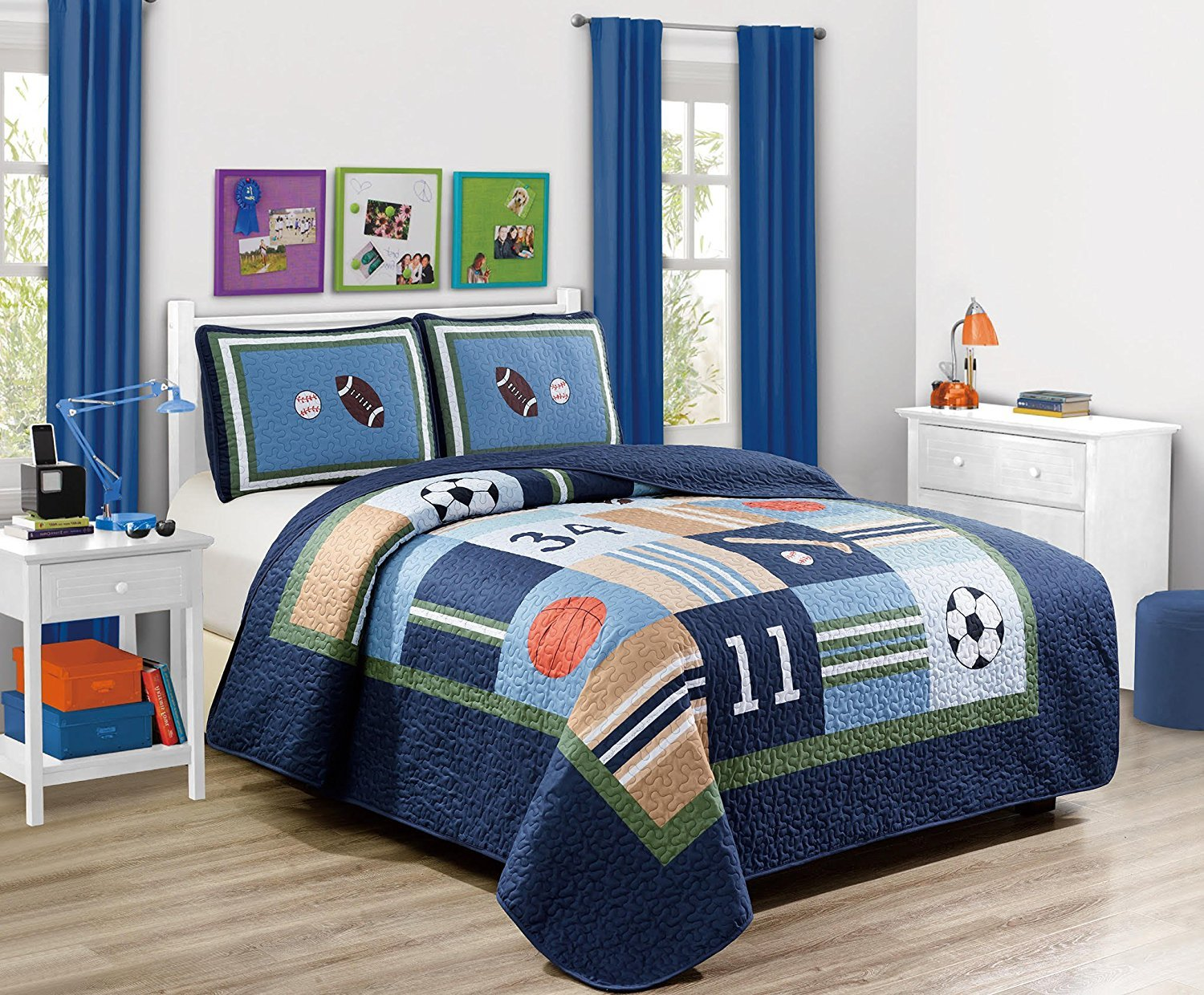 MK Home 3pc Full Size Quilted Bedspread Sport Navy Blue Green White Orange Brown Boys/Teens Football Basketball Baseball Soccer New