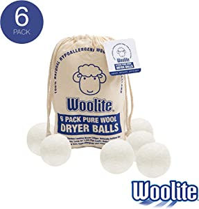 Woolite Reusable Wool Laundry Dryer Balls, Cuts Drying Time in Half, Natural Fabric Softener, Reduces Clothing Wrinkles, Eco-Friendly, Money Saver, 6 Pack
