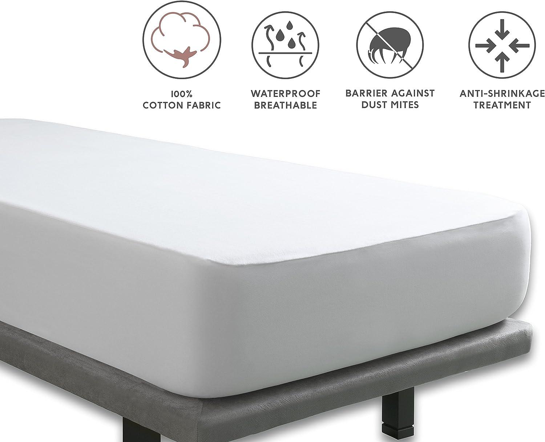 Tural Proteggi Materasso Impermeabile Pack da 2 Tessuto 100/% Cotone Coprimaterasso in Mollettone Impermeabile e Traspirante Singolo 90x190//200 cm