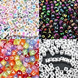 "Trasfit 800 Pieces 4 Color Acrylic Alphabet Letter ""A-Z"" Cube Beads for Jewelry Making, Bracelets, Necklaces, Key Chains and Kids Jewelry (6mm)"