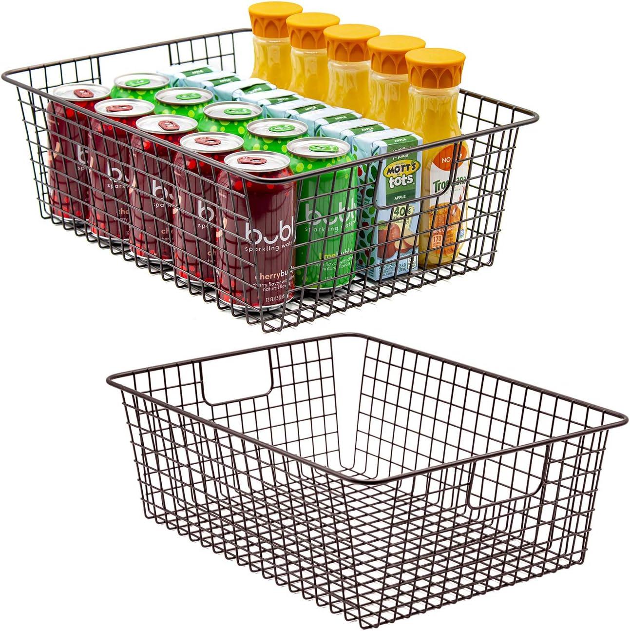Sorbus Metal Wire Baskets Storage Bin Organizer for Food Pantry, Freezer, Kitchen, Laundry Room, Basket Organizers for Home, Bathroom, Closet Organization, Iron Metal