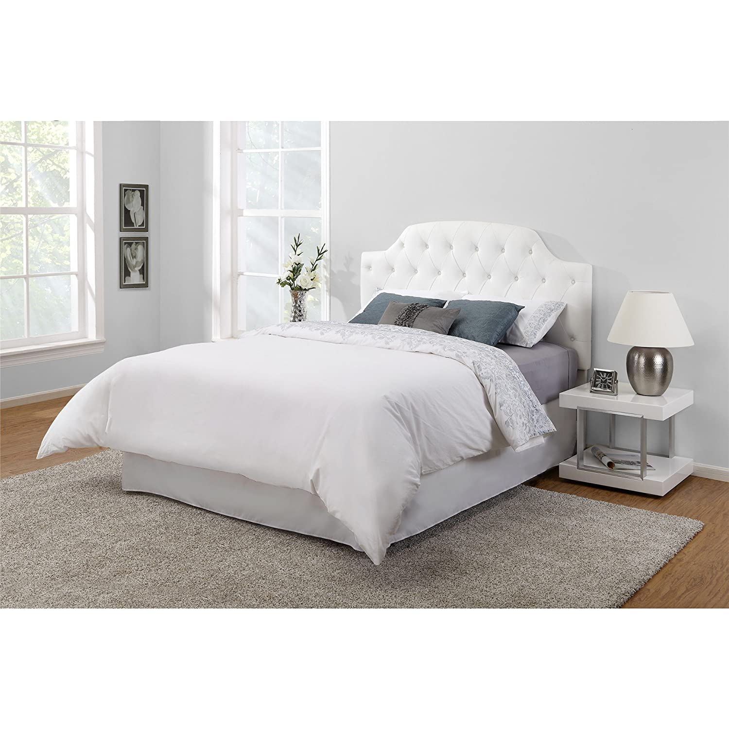amazoncom white modern button tufted faux leather headboard it accomodates most full and queen size frames this padded bed frame is adjustable to