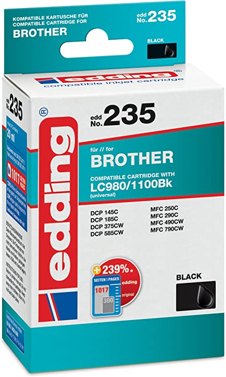 Edding 18 235 Druckerpatrone Edd 235 Ersetzt Brother Lc980bk Lc1100bk Einzelpatrone Schwarz Bürobedarf Schreibwaren