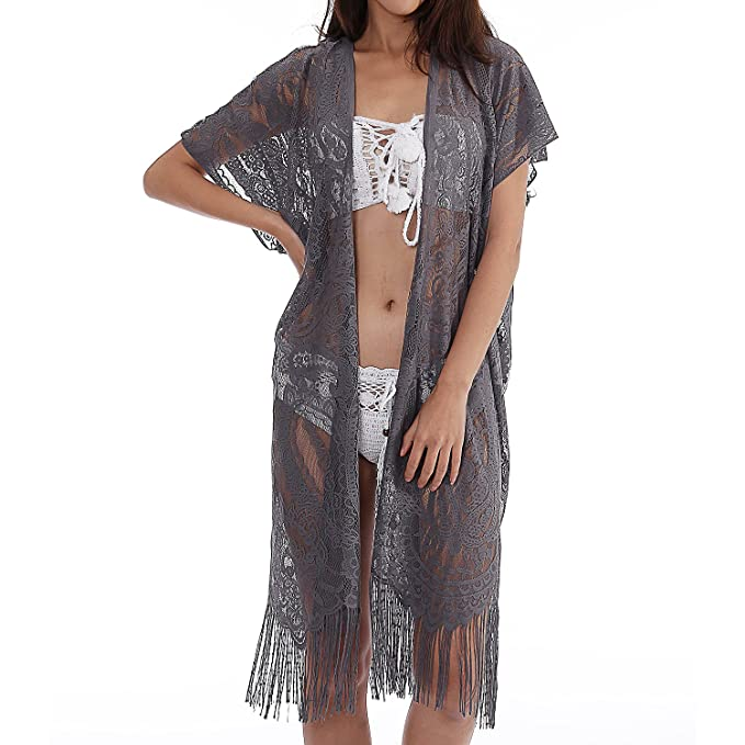 3657853a07a Image Unavailable. Image not available for. Color  Womens Lace Cardigan  Beach Wear Cover up Swimwear Bikini Lace Floral ...