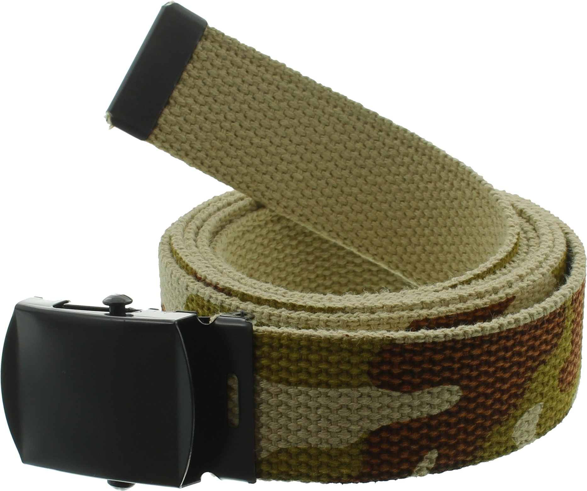 100% Cotton Military 54'' Web Belt (Tri-Color Desert Camouflage w/Black Buckle) by Army Universe