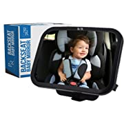 Baby Car Mirror for Backseat - View Infant in Rear Facing Car Seat-Crystal Clear Reflection with Adjustable Swivel-Mounts to Headrest-Travel Safely-2 Security Clips-View Without Risk-Rascal Ridges