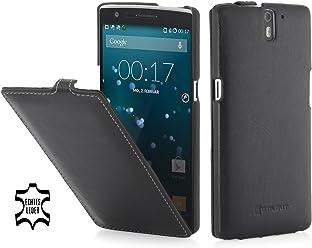 StilGut® UltraSlim Case, custodia in vera pelle per OnePlus One, nero nappa