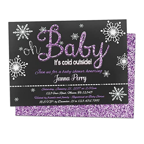 Amazon Oh Baby Its Cold Outside Baby Shower Invitations Purple