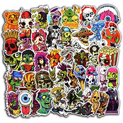 100 pcs horror cool stickers for laptop car luggage bicycle motorcycle computer skateboard snowboard water bottle