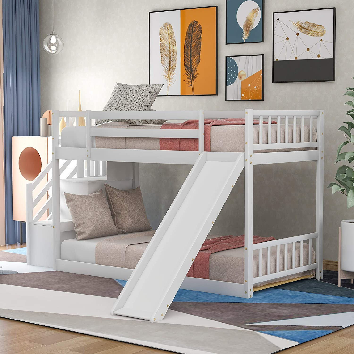 Solid Wood Low Bunk Bed for Kids, Twin Over Twin Floor Bunk Bed with Slide and Stair, Stairway with Storage Shelves/Handrail, Space-Saving Bedroom Dormitory Furniture (White)
