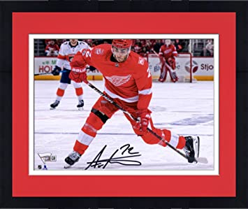 Framed Andreas Athanasiou Detroit Red Wings Autographed 8 quot  x 10 quot  Red  Jersey Shooting Photograph 3eaa85652