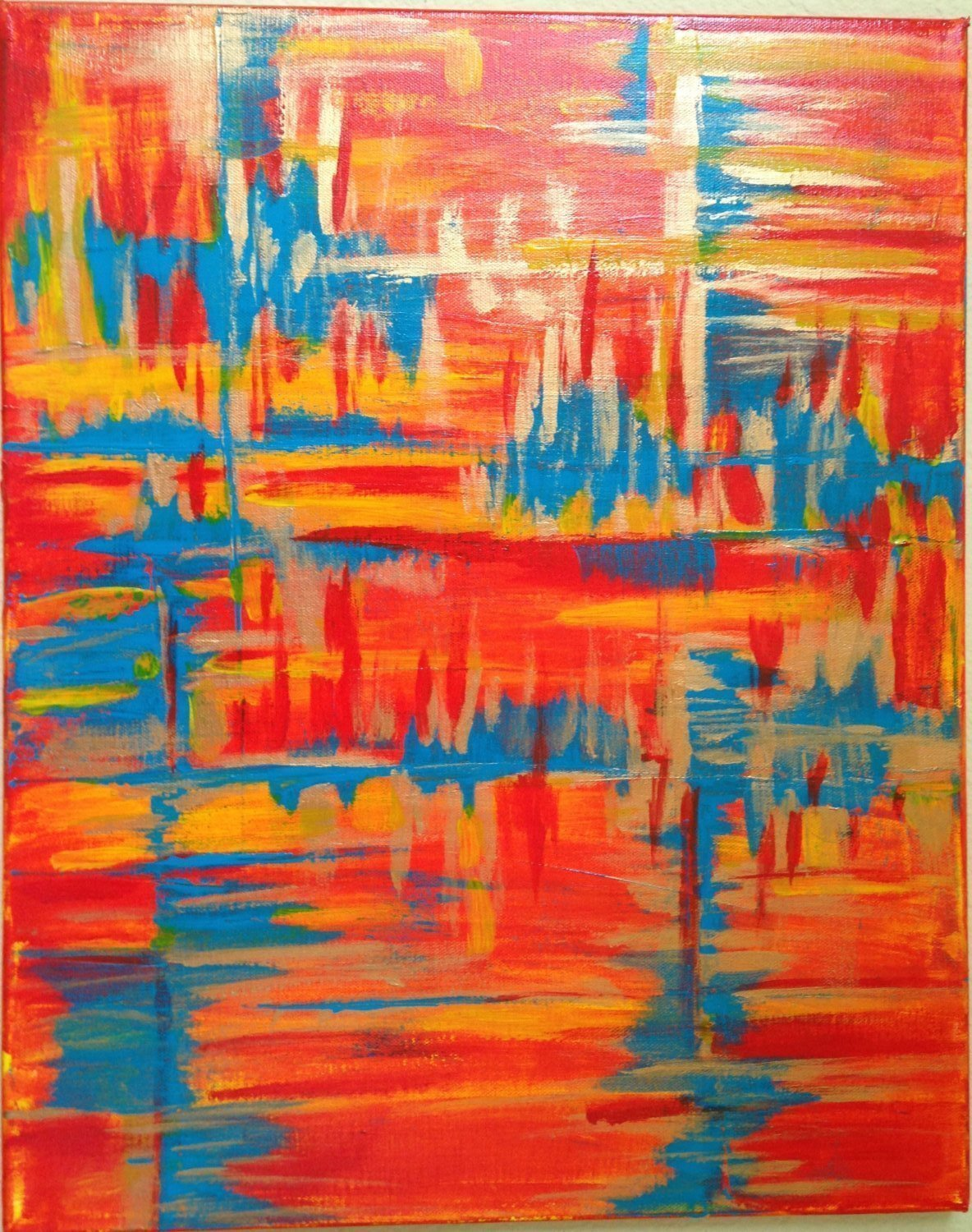 Red And Turquoise Abstract Art
