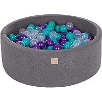 MeowBaby 90X30cm/200 Balles ∅ 7Cm Piscine À Balles pour Bébé Rond Fabriqué en UE Rose: Gris/Blanc/Rose Foncé