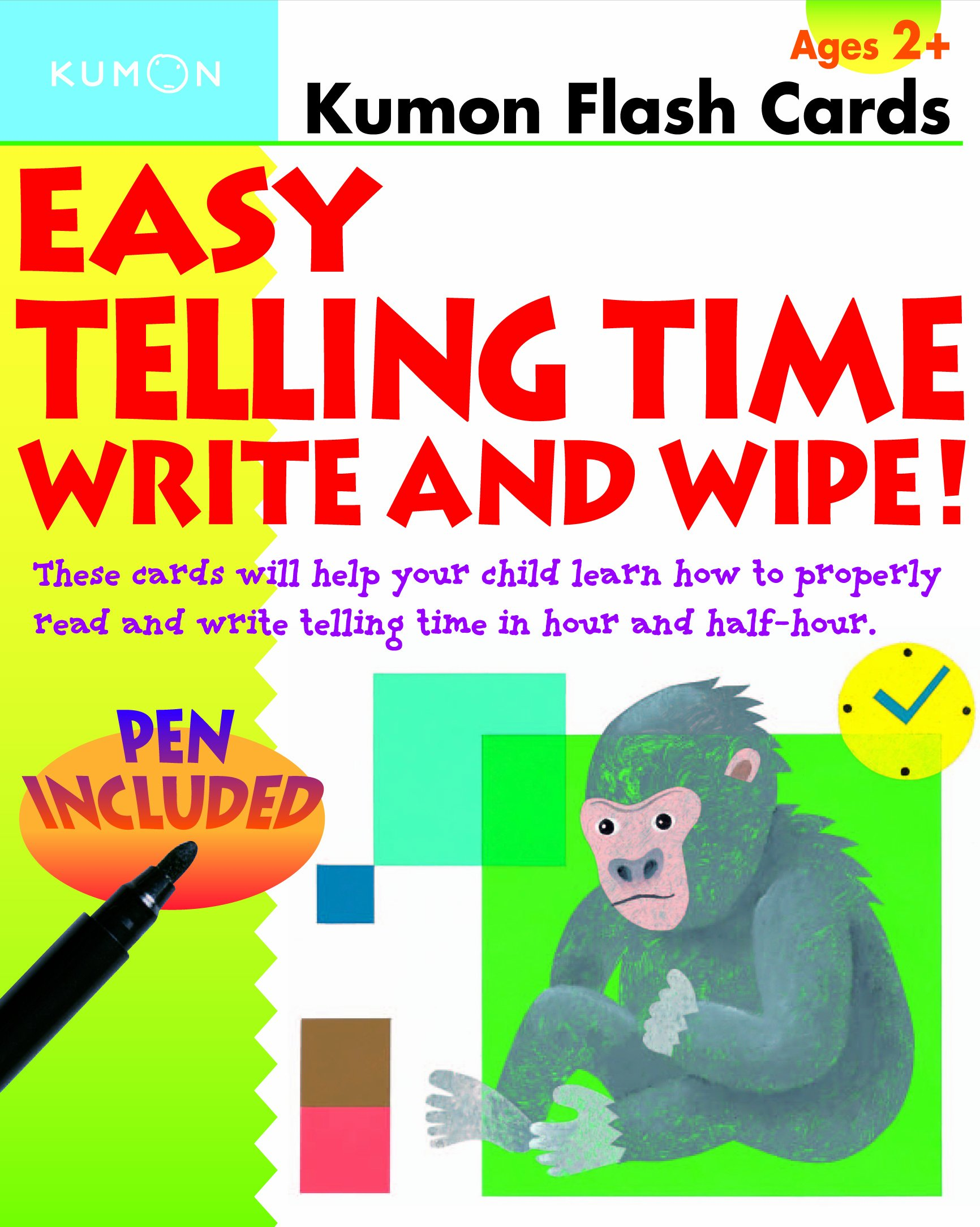 worksheet Telling Time Flash Cards easy telling time write and wipe kumon flash cards publishing 9781933241456 amazon com books
