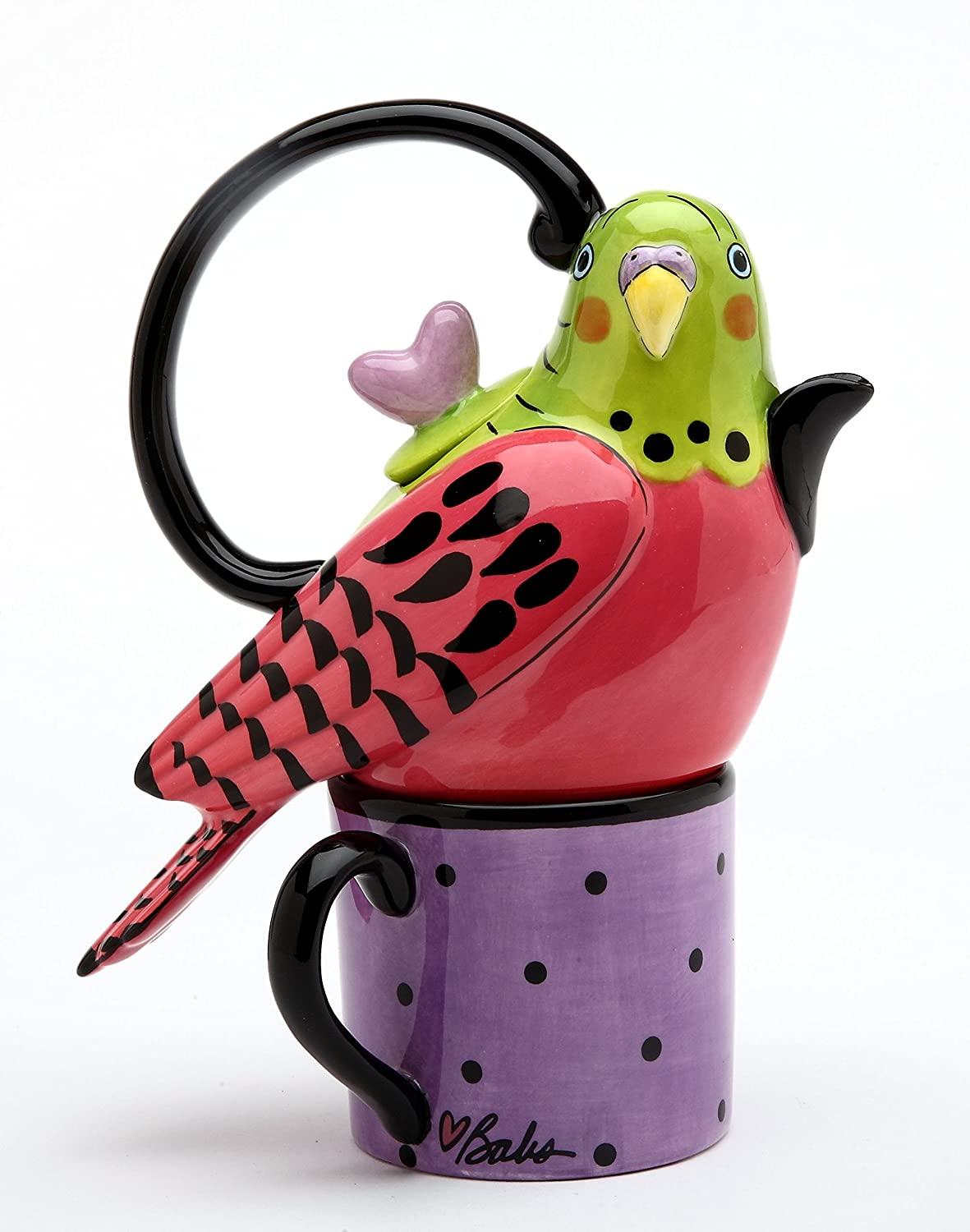 Cosmos Gifts 61540 Fine Ceramic Flights Of Fancy: Red Parakeet Tea For One (Teapot with tea Cup) Set by Babs, 7-1/4' H