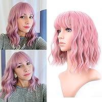 Pastel Wavy Wig With Air Bangs Women's Short Bob Pink Wig Curly Wavy Shoulder Length Pastel Bob Synthetic Cosplay Wig…