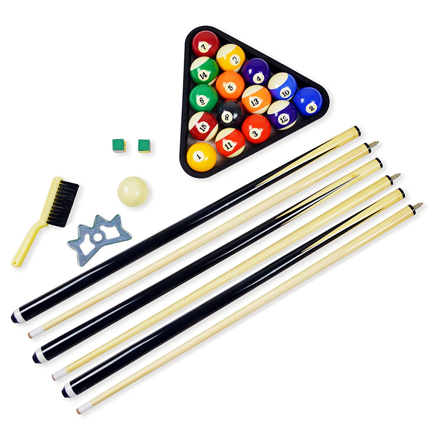 Pool Table Accessories Billiard Balls Set Cue Sticks Chalk Rack - How to rack a pool table