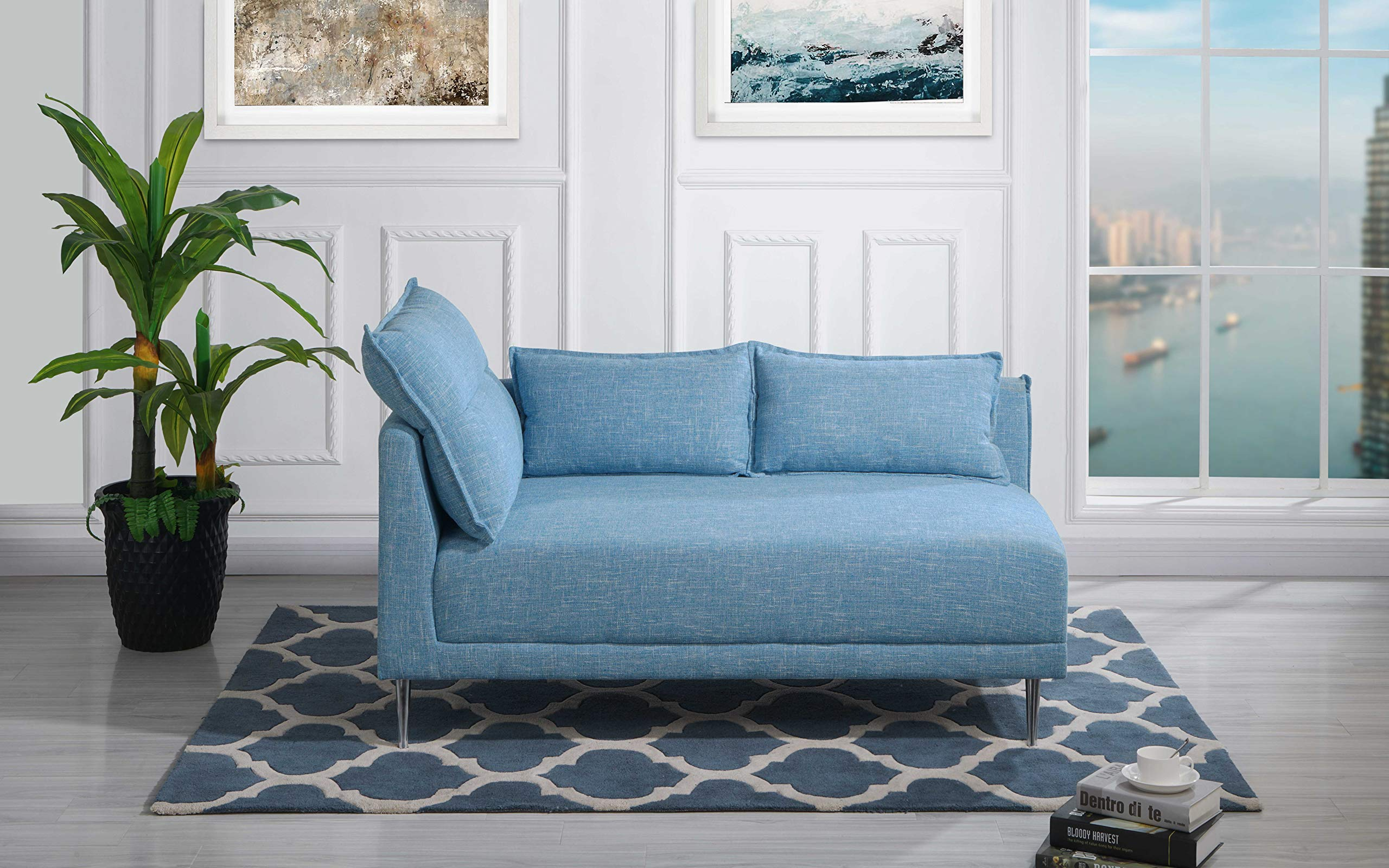 Upholstered 55.9'' inch Modern Living Room Linen Chaise Lounge (Sky Blue) by Casa Andrea