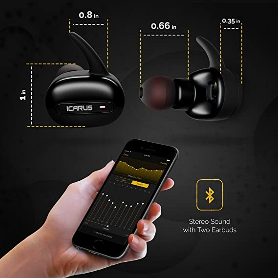 Icarus. Auriculares inalámbricos verdaderamente inalámbrico Bluetooth auriculares con estuche de carga y micrófono integrado estéreo mini auriculares Bluetooth auriculares con micrófono de cancelación de ruido para iPhone y Android teléfonos. onexelot ...