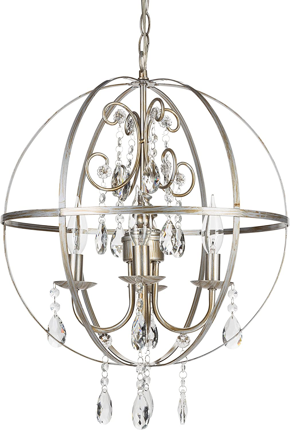 Amalfi Decor 4 Light Orb Crystal Beaded Chandelier, LED Cage Wrought Iron K9 Glass Pendant Light Fixture Vintage Nursery Kids Room Dimmable Plug in Hanging Ceiling Lamp, Silver