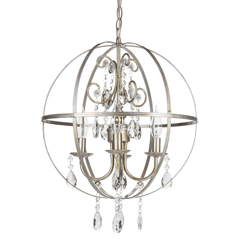 Luna Vintage Silver Orb Crystal Chandelier Metal Round Sphere