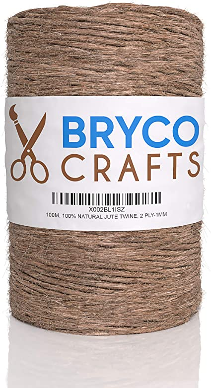Jute Twine String for Crafts - 100/% Natural 2 Ply 1MM Thick 100M 328 Feet