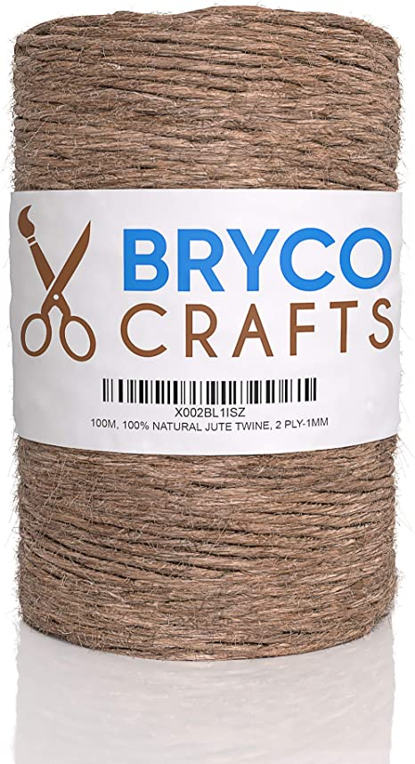 - 100/% Natural 2 Ply 1MM Thick Jute Twine String for Crafts 328 Feet 100M