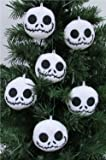 "NIGHTMARE BEFORE CHRISTMAS Plush Ornament Set Featuring 6 Jack Skellington Christmas Tree Plush Ornaments -  Average 2.5"" Round"