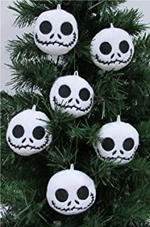nightmare before christmas plush ornament set featuring 6 jack skellington christmas tree plush ornaments