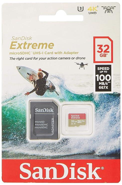 SanDisk - Tarjeta de Memoria Extreme 32 GB microSDHC para cámaras de Deportes de acción + Adaptador SD, Velocidad de Lectura hasta 100 MB/s, Clase 10, ...