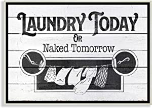 Stupell Industries Laundry Today Funny Bathroom Word Wall Plaque, 13 x 19, Design by Artist The Saturday Evening Post