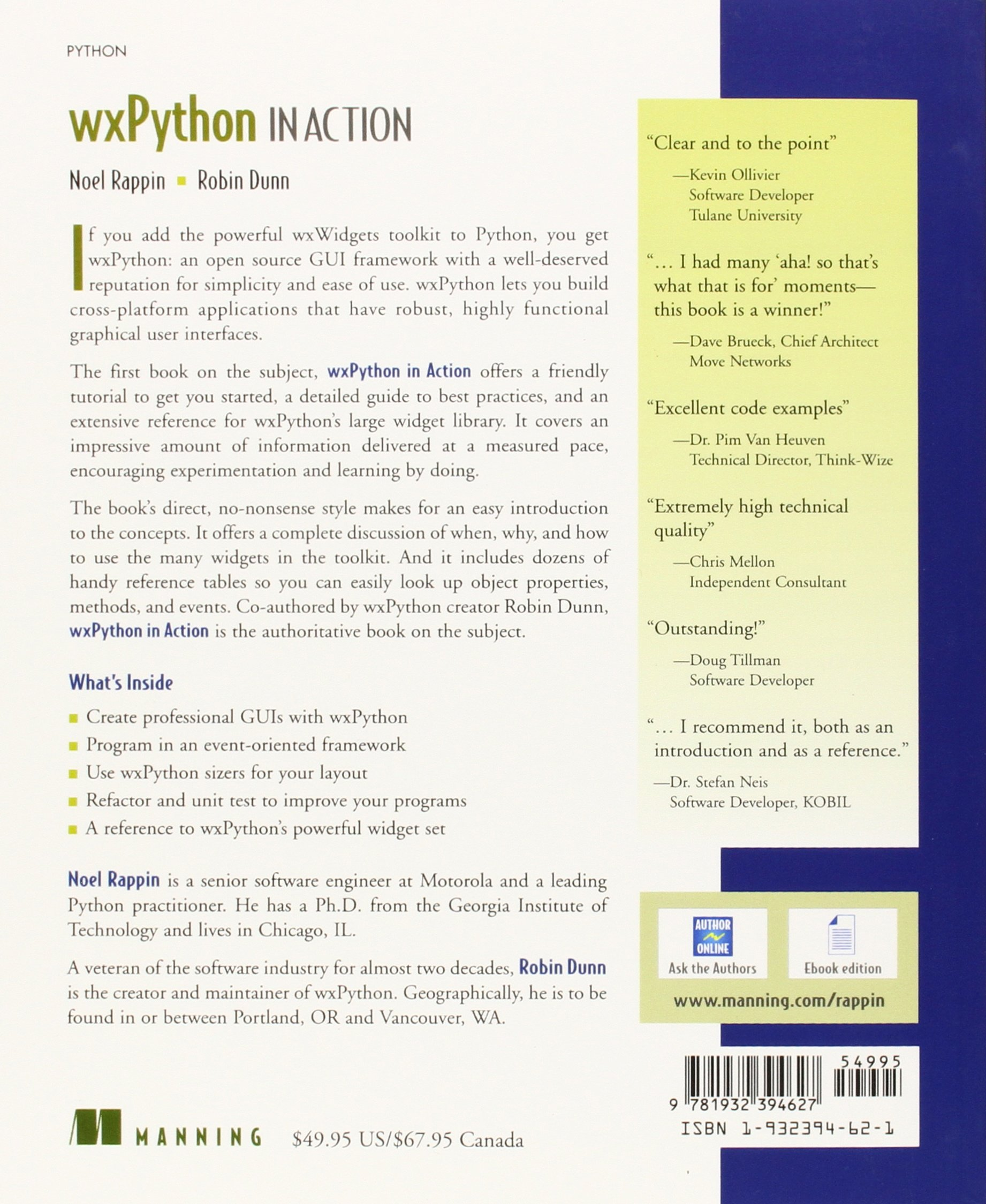 Wxpython in Action: Noel Rappin, Robin Dunn: 9781932394627