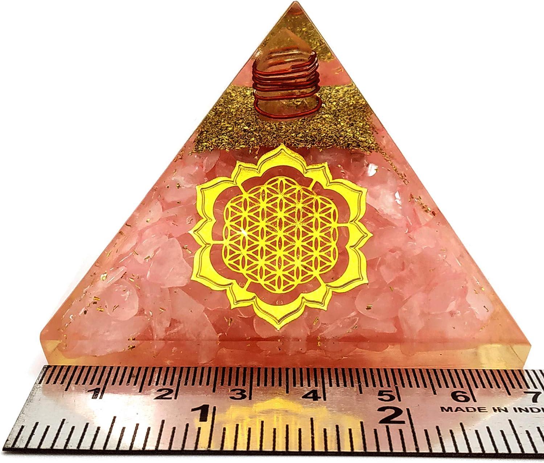 Orgone Pyramid Amethyst Rose Quartz /& Peridot with Orgone Healing Crystal Orgonite Pyramid for Positive Energy EMF Protection