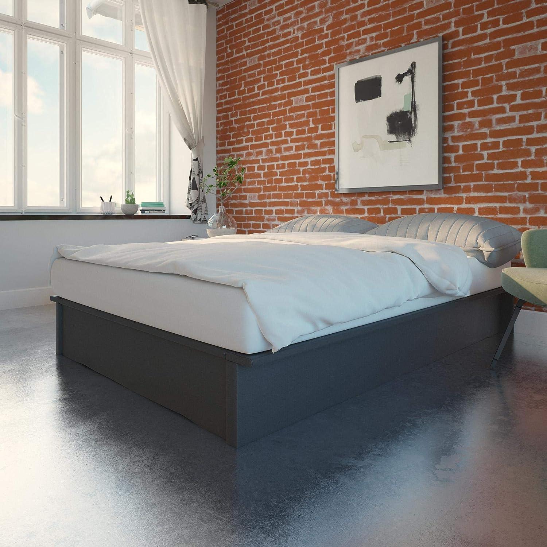 Amazon Com Dhp Maven Platform King Size Frame Grey Linen Upholstered Beds Furniture Decor