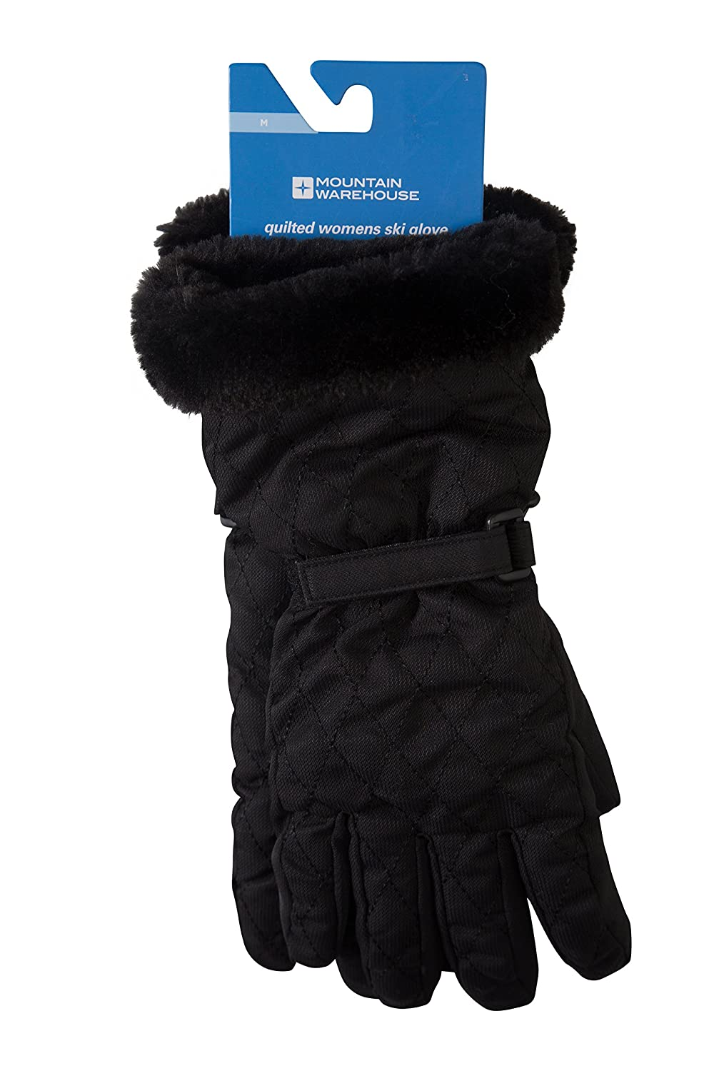 Mountain Warehouse Quilted Womens Ski Gloves - Water-Resistant Fabric, Faux-Fur Hem for Extra Warm with Textured Palm & Fingers, Elasticized Cuffs - Great for Skiing