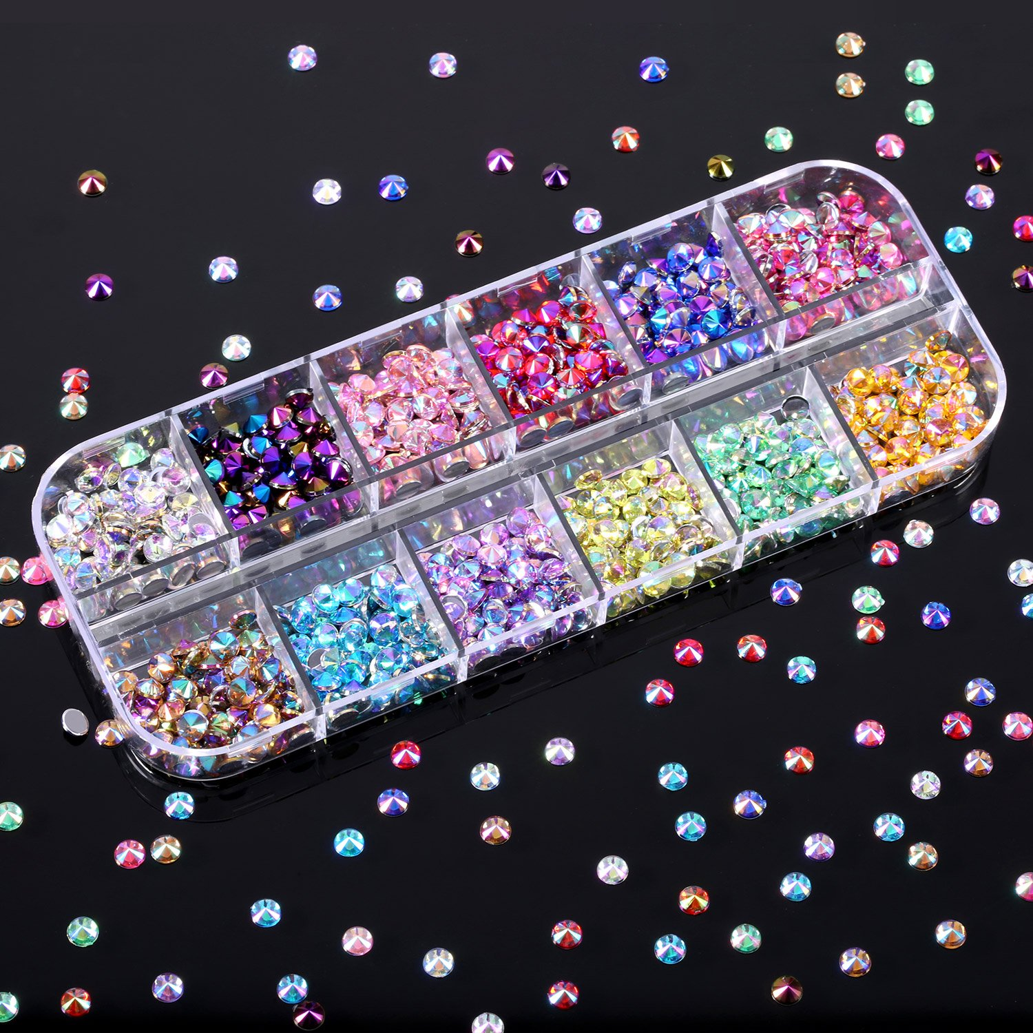 Bememo 4300 Pieces (4 Boxes) Nail Art Rhinestones Kit Nail Rhinestones with 1 Piece 1 Pick up Tweezers, Multicolor Nail Studs Horse Eye Rhinestones for Nail Art Decorations Supplies by Bememo (Image #5)