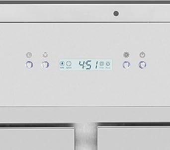 Klarstein Secret Service Campana extractora - Extractor de techo 800 m³/h, 220 W, Mando, 4 filtros grasa, 3 niveles, Panel táctil, Silenciosa, Acero inoxidable: Amazon.es: Grandes electrodomésticos