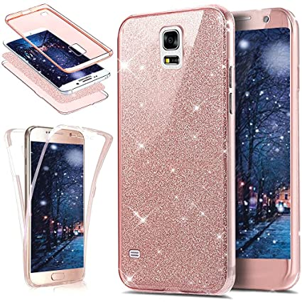 new arrival f48a3 8acb0 Galaxy S5 Case,ikasus [Full-Body 360 Coverage Protective] Crystal Clear  2in1 Sparkly Shiny Bling Glitter Front Back Full Coverage Soft Clear TPU ...