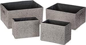Home Zone Living Storage Nursery Basket, Great for Toys Blankets and Magazines, Foldable Design, Set of 4 (Grey)