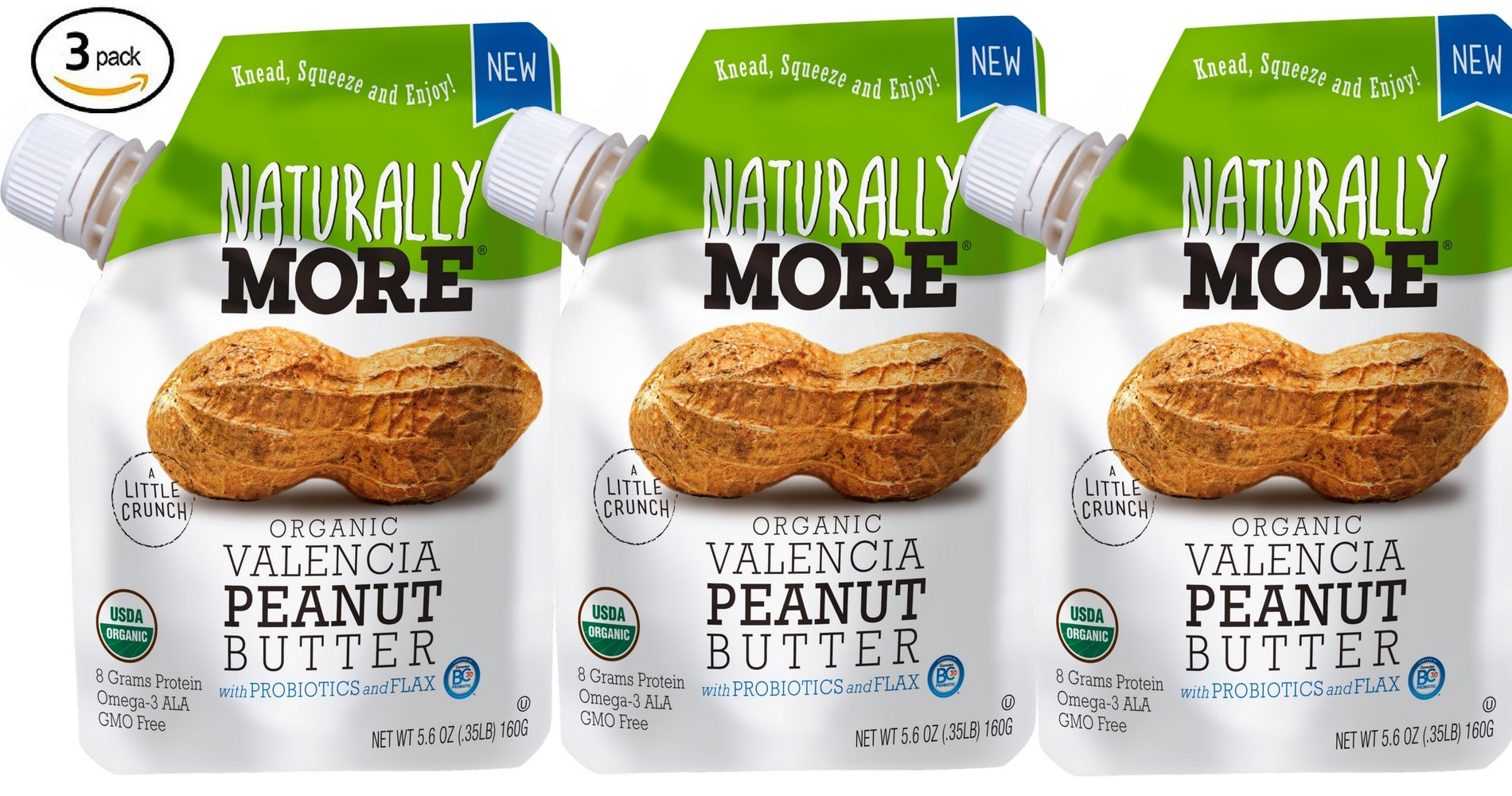 Naturally More 100% Organic Peanut Butter - All Natural - Probiotic Infused-Premium Roasted Peanut Taste-Heart Healthy Flax - Vegan - Gluten Free - Plant Based - Travel Size Snack Packets (3 Packs) by Naturally More