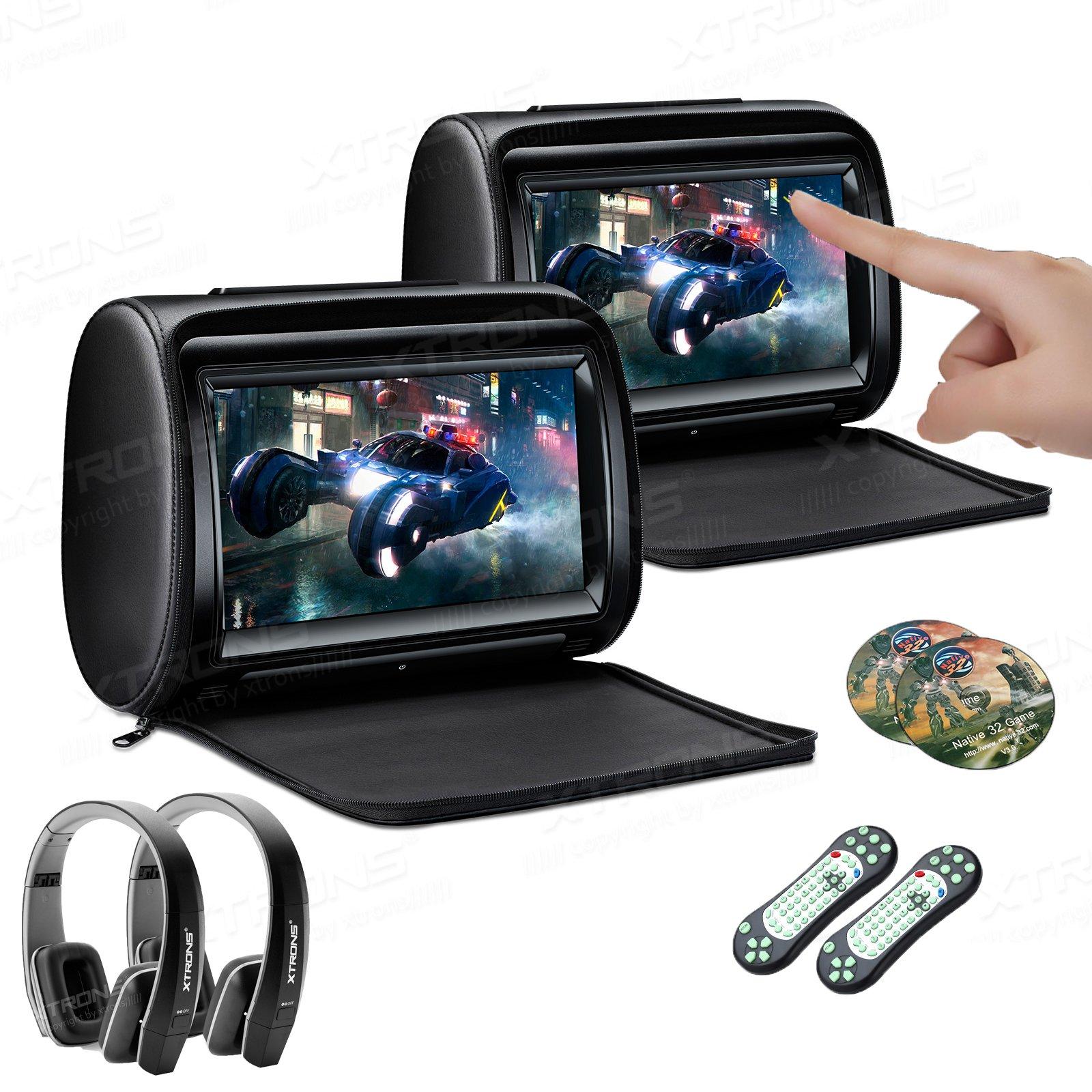 XTRONS 2 x 9 Inch Pair Car Headrest DVD Player HD Digital Adjustable Touch Screen 1080P Video Auto Games HDMI Version Black IR Headphones by XTRONS