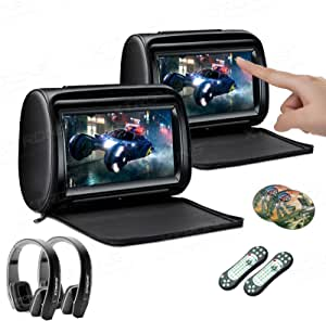 XTRONS 2 x 9 Inch Pair Car Headrest DVD Player HD Digital Adjustable Touch Screen 1080P Video Auto Games HDMI 2pcs New Version Black IR Headphones Included