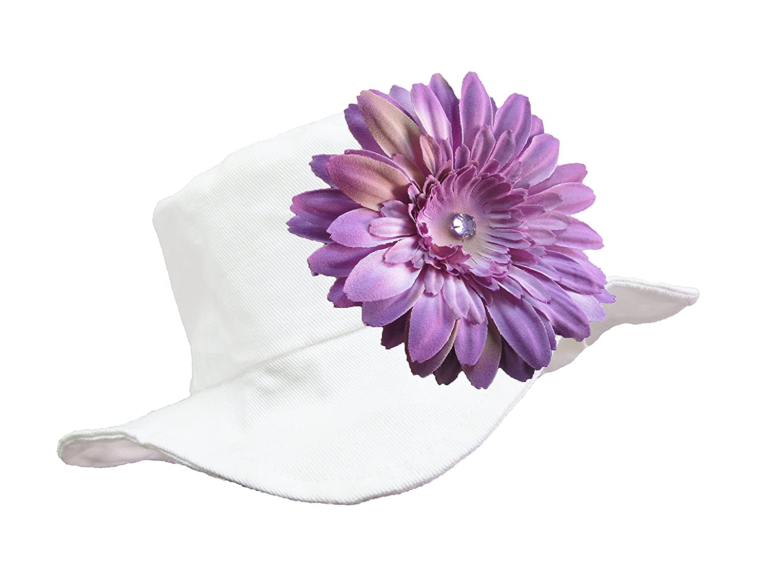 Jamie Rae Hats - White Sun Hat with Lavender Daisy