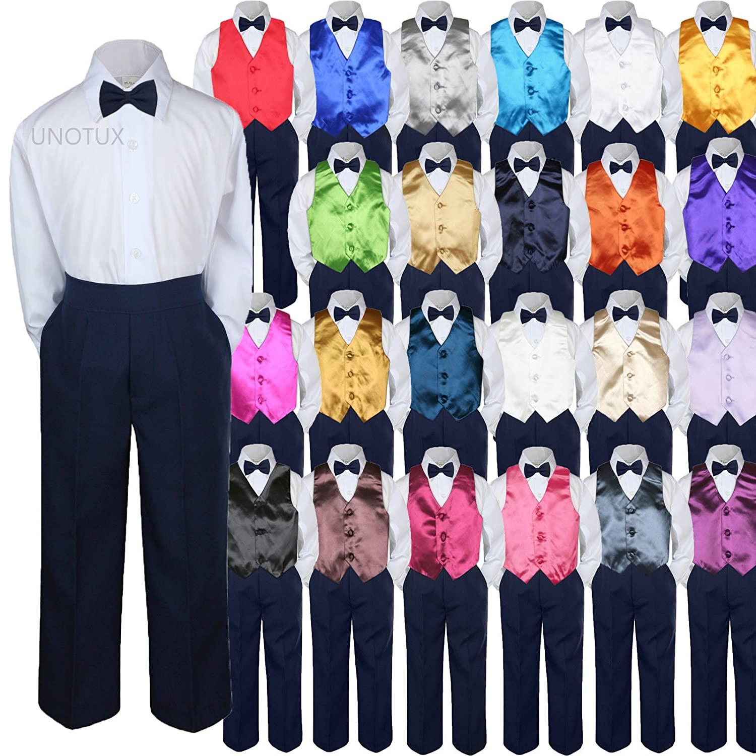 4pc Baby Toddler Kid Boys Champagne Vest Navy Blue Pants Bow Tie Suits Set S-7 5 Leader Textiles /& Garments Co.