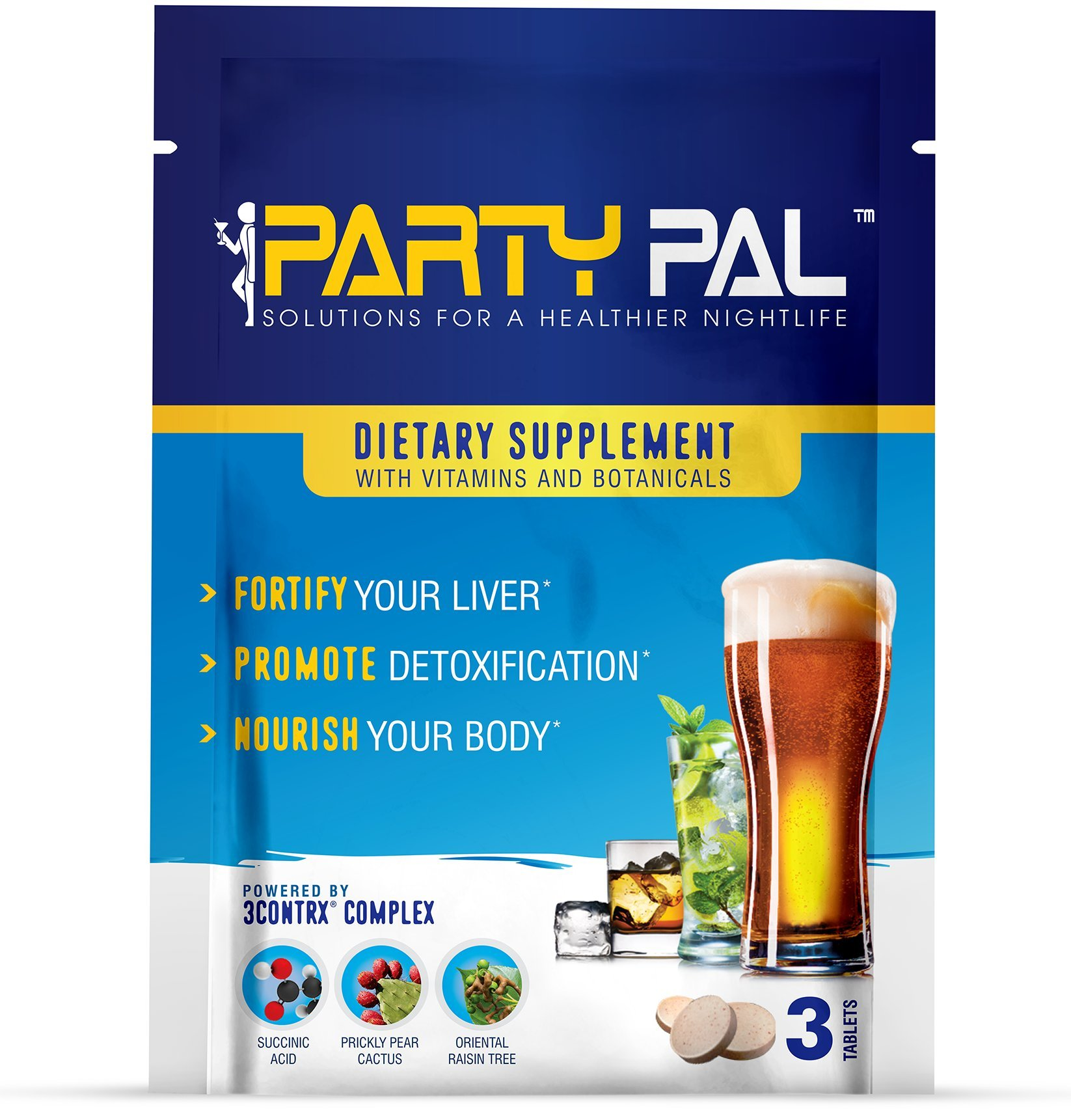 PartyPal™ - Natural Hangover Relief & Hangover Prevention | 100-PACK Hangover Pills Detox Kit | Enhance your body's ability to metabolize toxins | Replenish & Revitalize | 100% Money Back Guarantee!