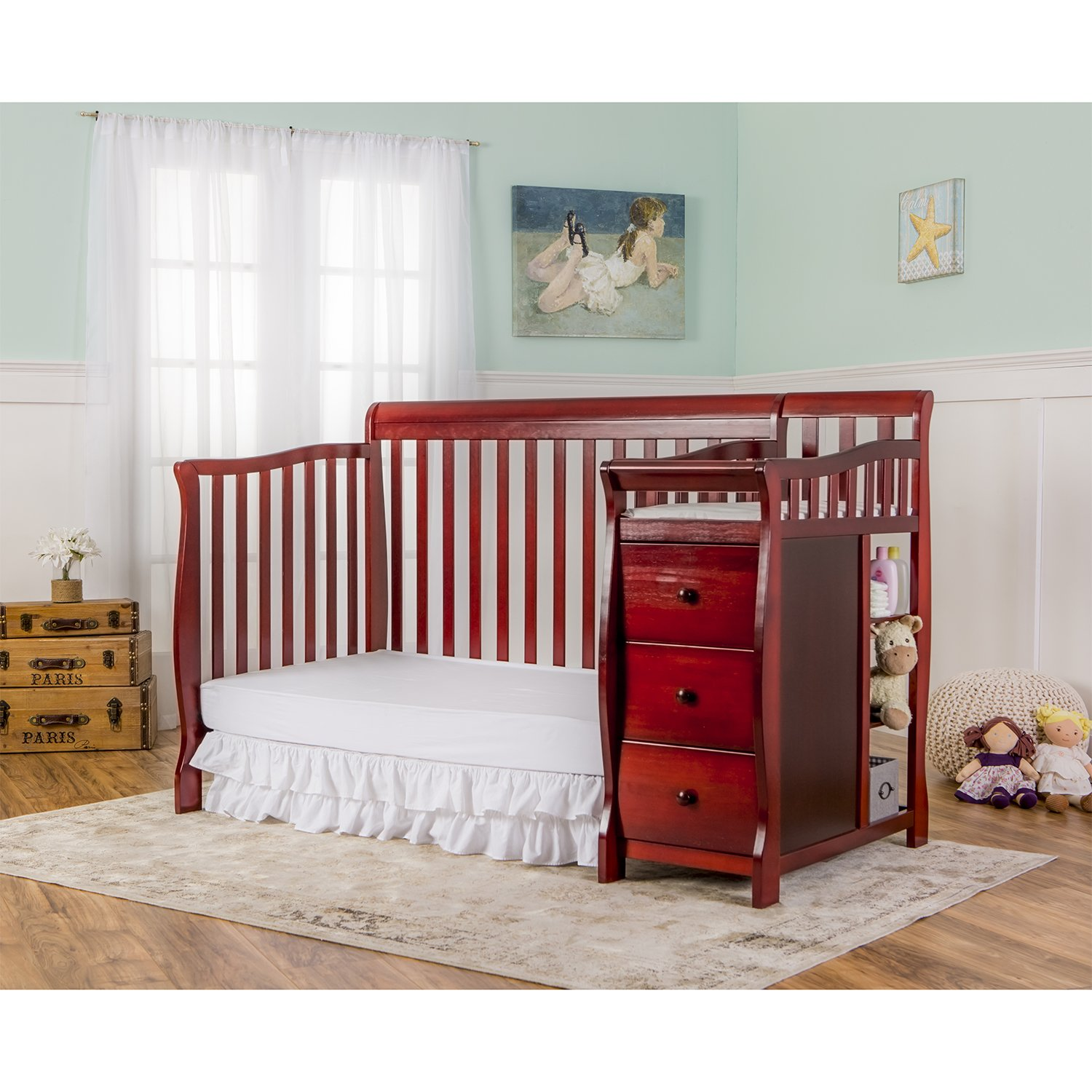 Baby cribs amazon - Amazoncom Dream On Me 5 In 1 Brody Convertible Crib With Changer Cherry Convertible Crib With Changing Table Attached Baby